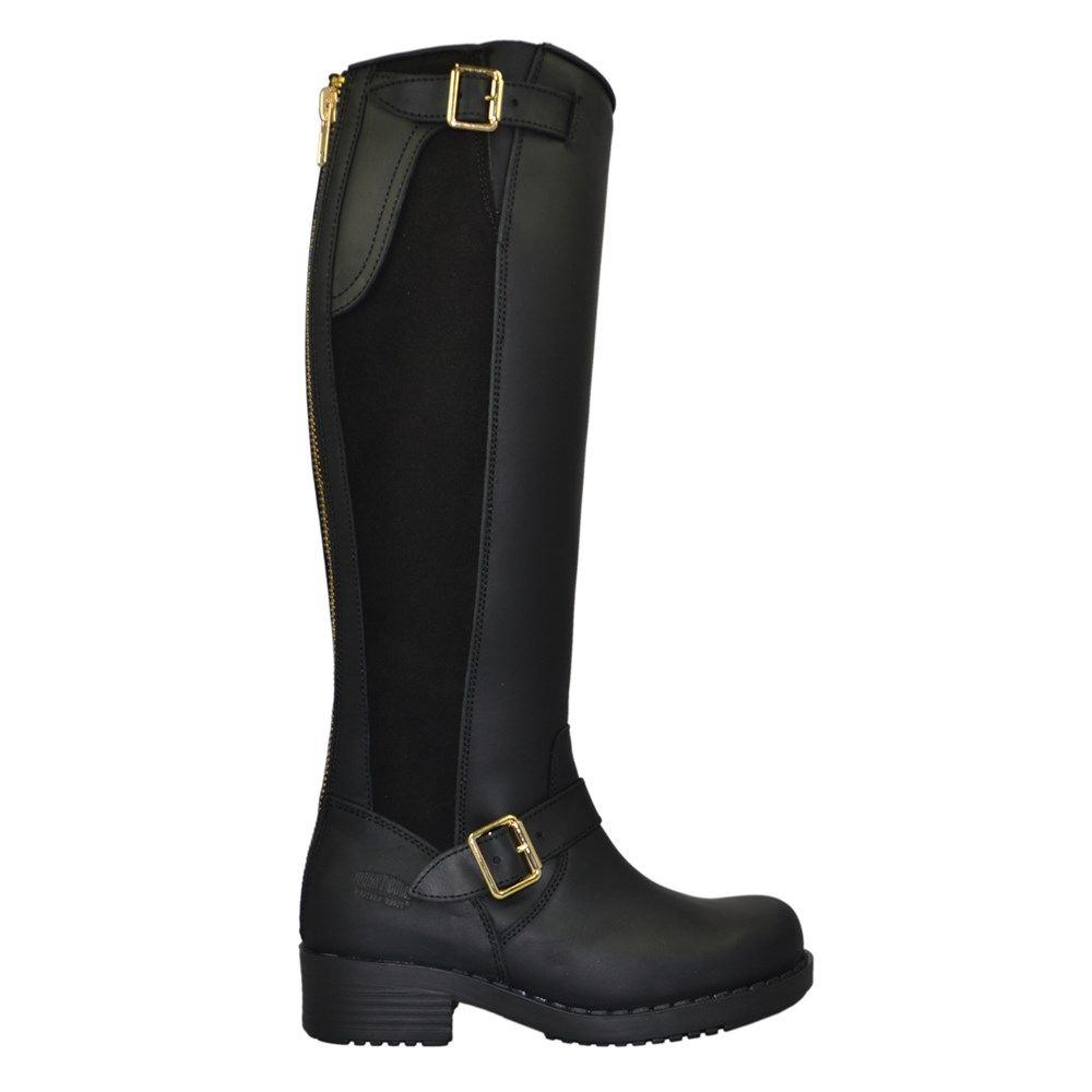 Svart High Boots mockasidor med skinn gulddragkedja från Johnny Bulls - Stövlar