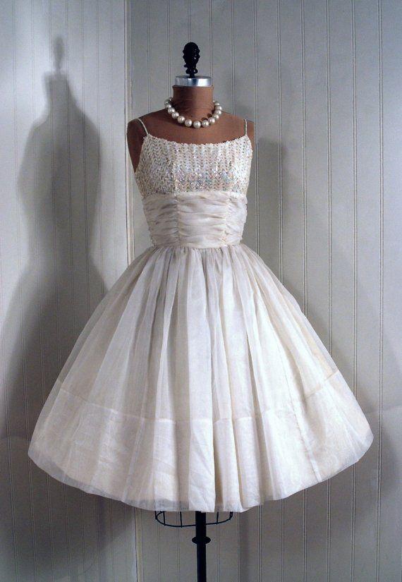 1950 S Vintage Crisp White Chiffon Couture Sequin Shelf Bust