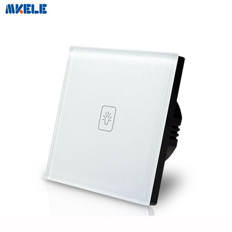 EU Standard Touch-schalter 1 Gang 1 Way Weiß Kristall glasscheibe Lichtschalter, Touchscreen wandschalter