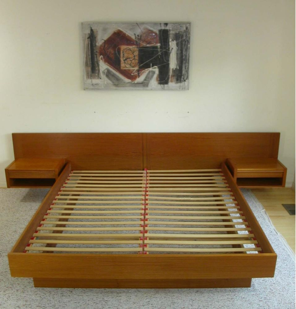 King Danish Modern Teak Platform Bed + Attached Floating Nightstands ...