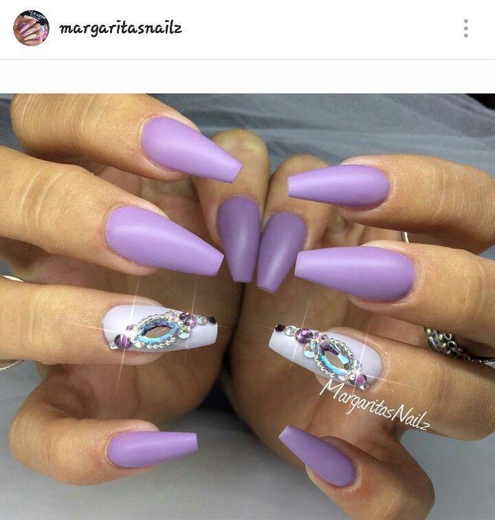 Matte, lavender, lilac, light purple, coffin nails | Nail ...