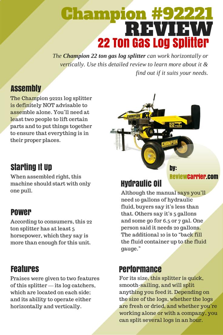 Champion 22 Ton Gas Log Splitter Review