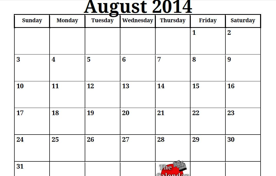 August 2014 Calendar Printable Template Httpcalendarvip