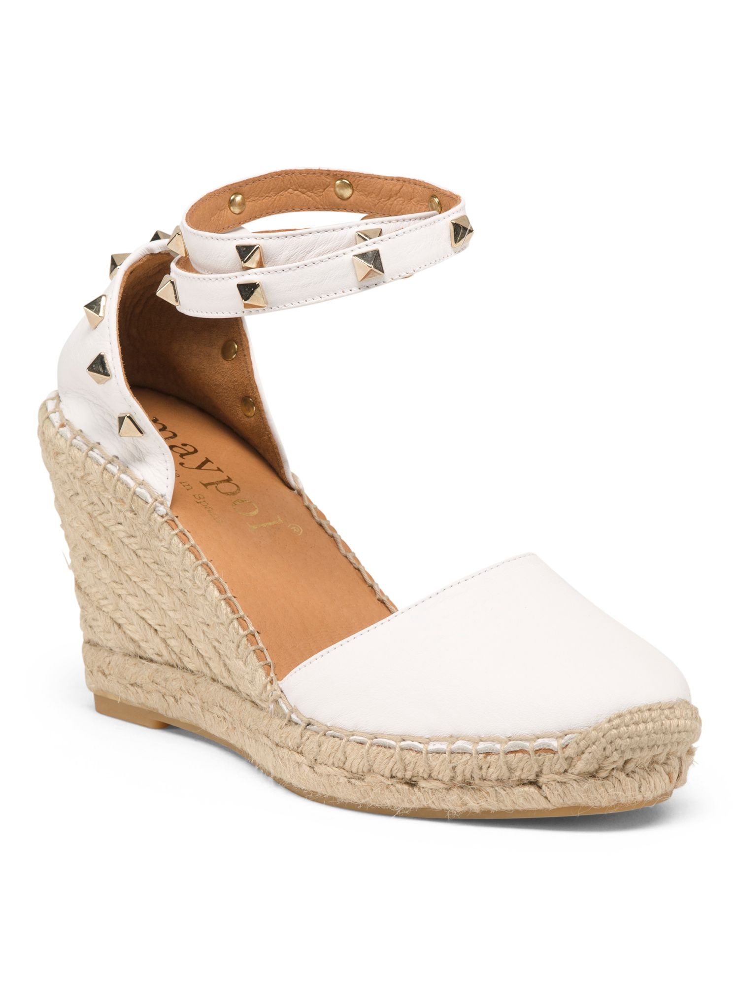 Espadrille Nude Leather Lace Up Espadrilles - Low Wedge