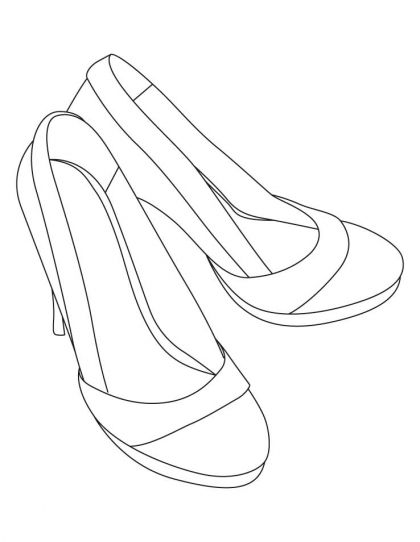 High Heel Sandals Coloring Pages Download Free High Heel Sandals Coloring Pages For Kids Best Coloring Page Drawing High Heels Shoe Template Coloring Pages