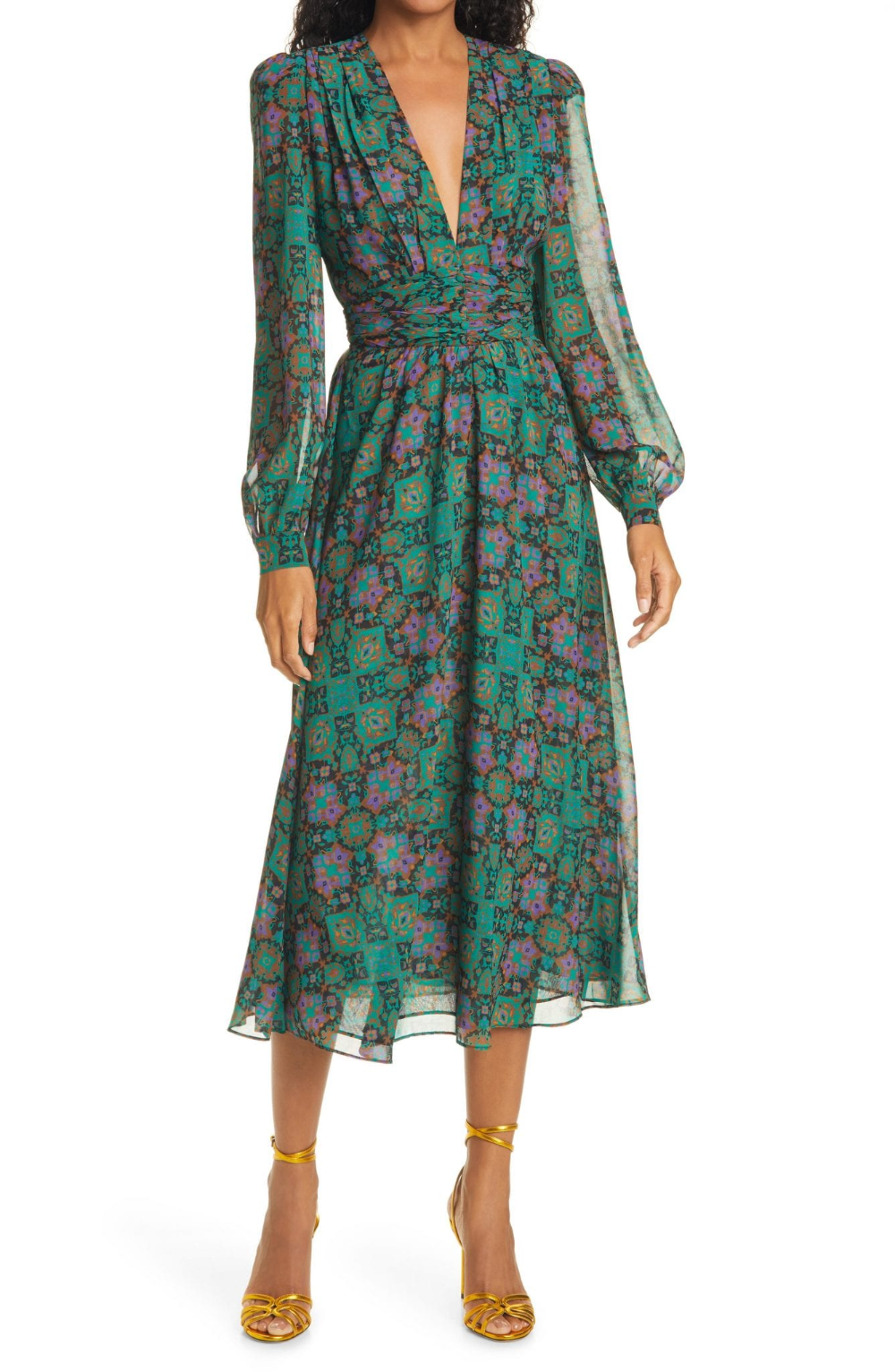 Ronny Kobo Tula Print Plunge Neck Long Sleeve Midi Dress We Select Dresses Long Sleeve Wrap Midi Dress Womens Trendy Dresses Long Sleeve Midi Dress [ 1532 x 1000 Pixel ]