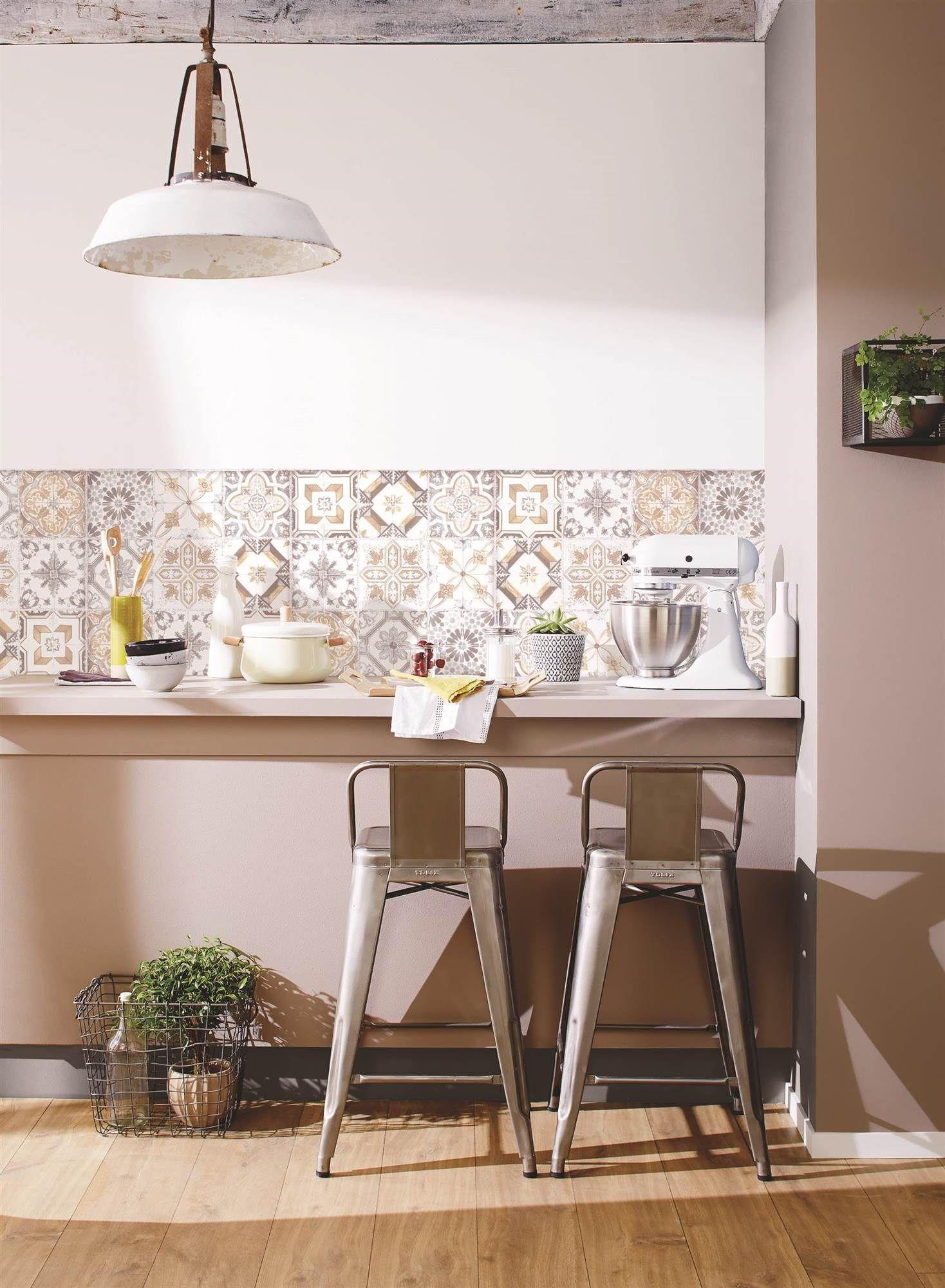 Papel como baldosa en 2019 kitchen papel pintado - Papel vinilo para cocinas ...