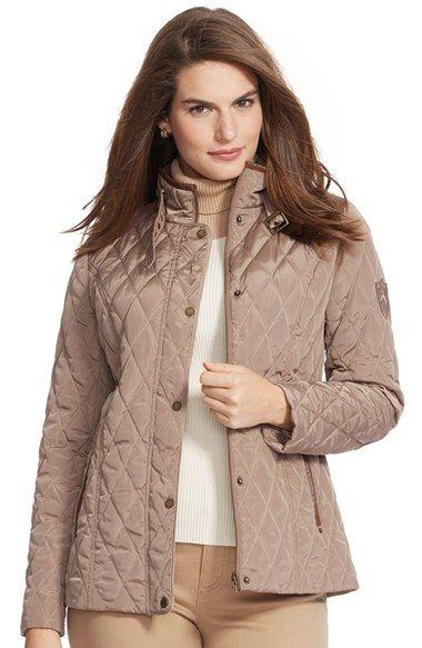 Lauren Ralph Lauren Faux Leather Trim Quilted Jacket Plus Size