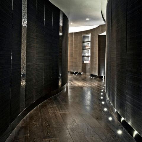 Modern Locker Room Design Dark Wood Plank Look The