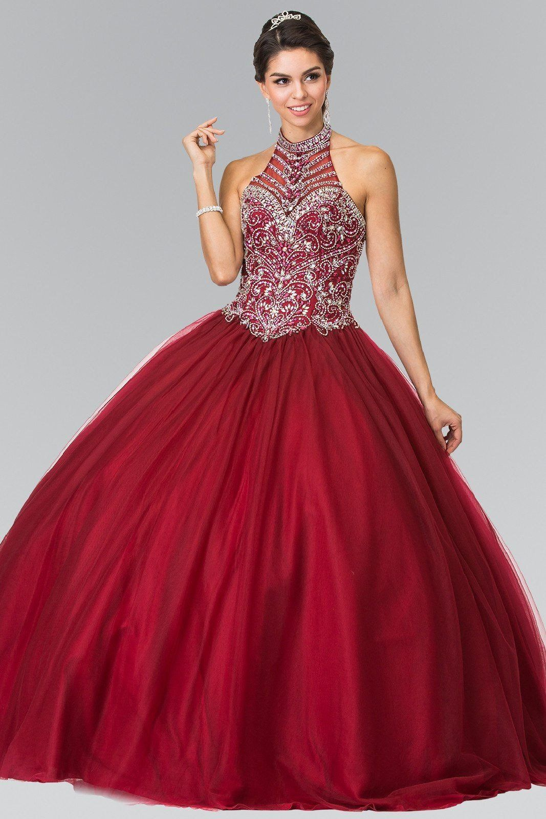 8daee29cbc Sheer illusion high neckline full rhinestone beaded bodice Ballgown prom  dress and Quinceanera sweet 15 dress. Featuring embroidered appliques  throughout ...
