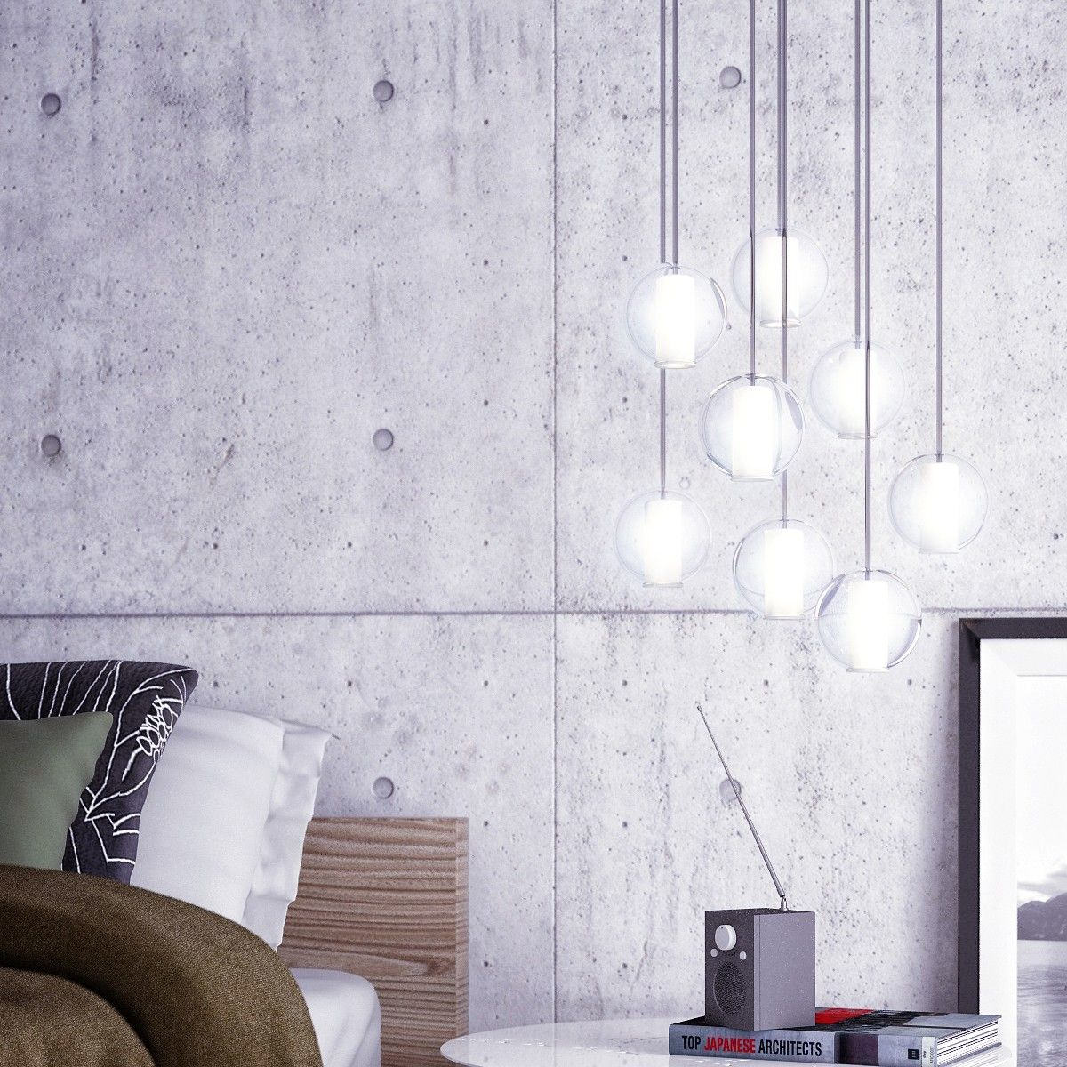 News lovely market suspension boule de verre la for Luminaire suspension salon