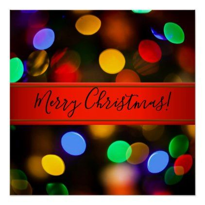 multicolored christmas lights add text or name poster