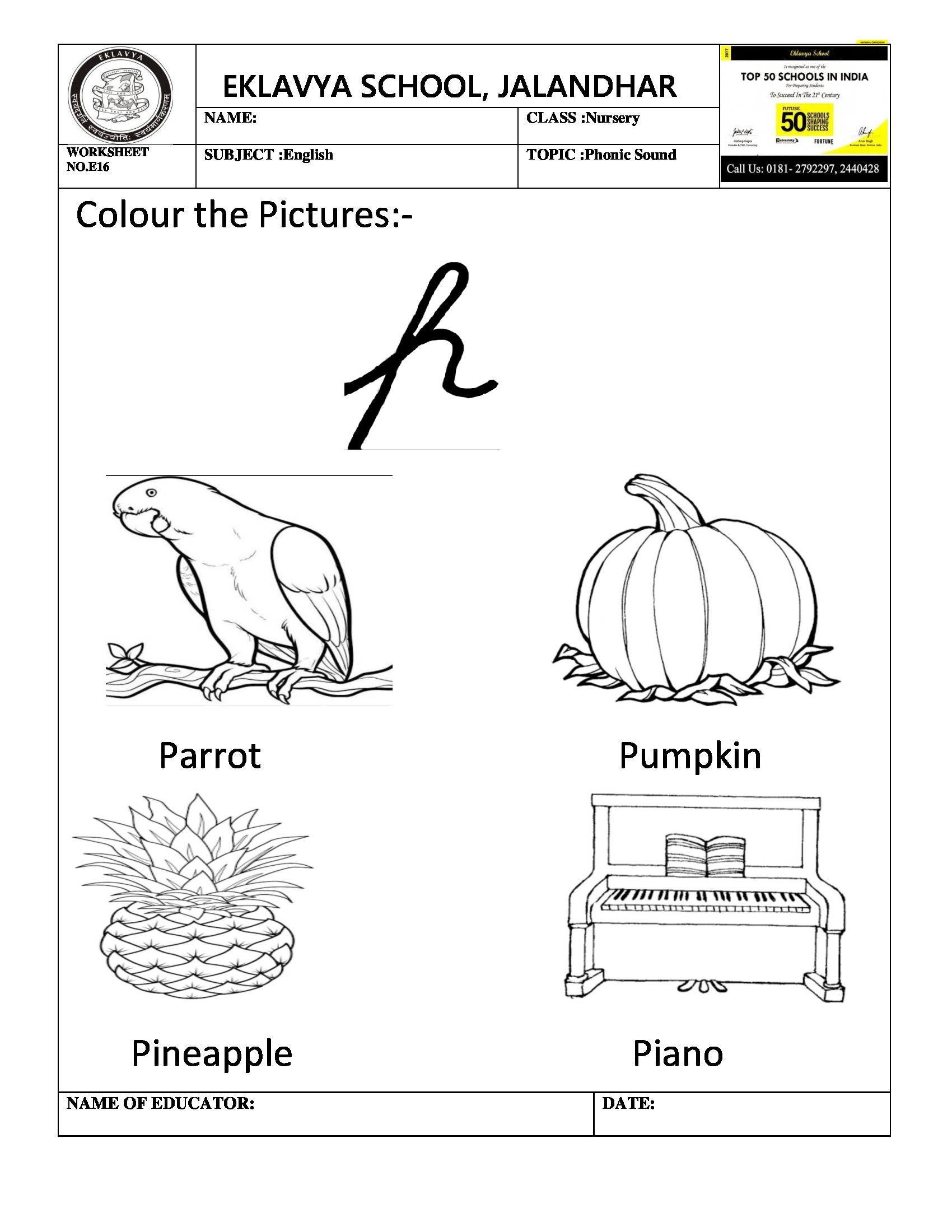 Worksheet On Phonic Sound P With Images