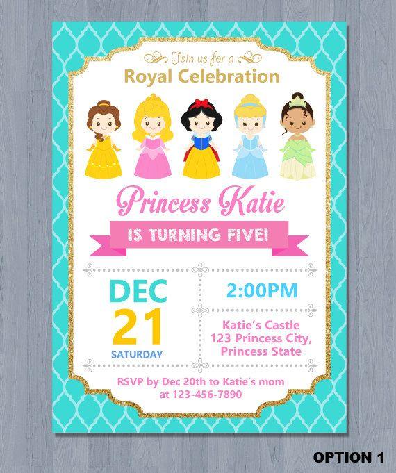 Disney Princess Invitation Disney Princess Birthday Invitation