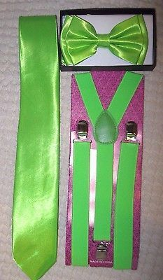 Lime Green Adjustable Bow Tie,Lime Green Adj Suspenders,&Lime Green Tie Combo-V2