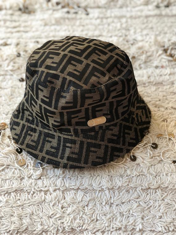 Vintage 90 s FENDI ZUCCA Signature FF Logo Bucket Sun Military Cap Sun Visor  Hat - Rare! S M L 9b1c8c79d