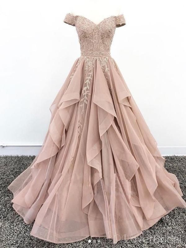 Off Shoulder Dusty Champagne Lace Cheap Long Evening Prom Dresses, Evening Party Prom Dresses