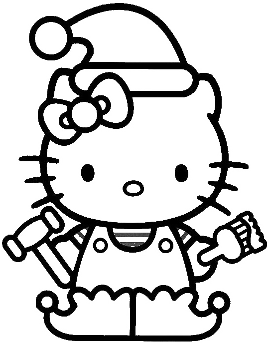Hello Kitty Christmas Hat Coloring For Kids - Christmas Coloring ...