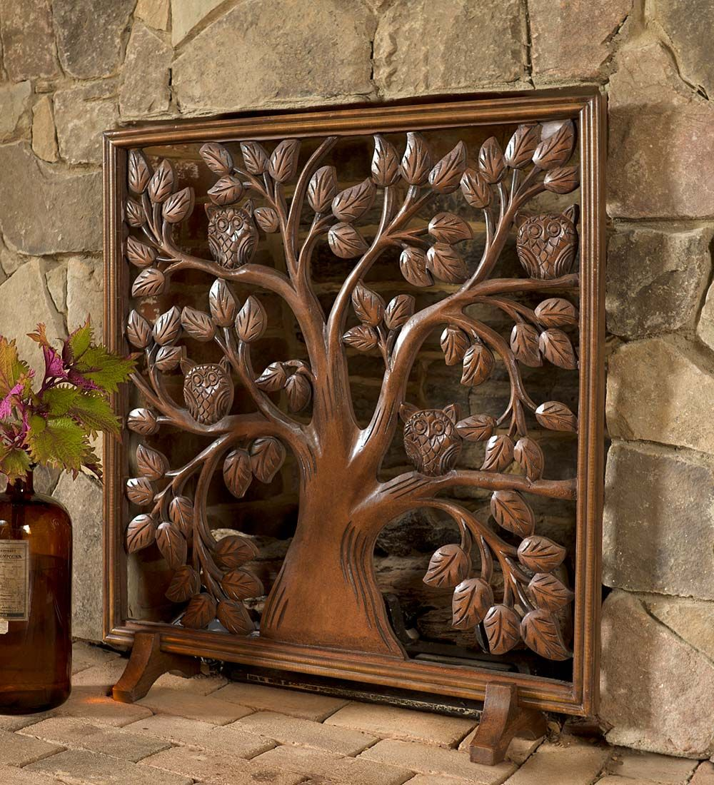 wood fireplace screens. Watchful Owls Fireplace Screen in Carved Wood  Screens