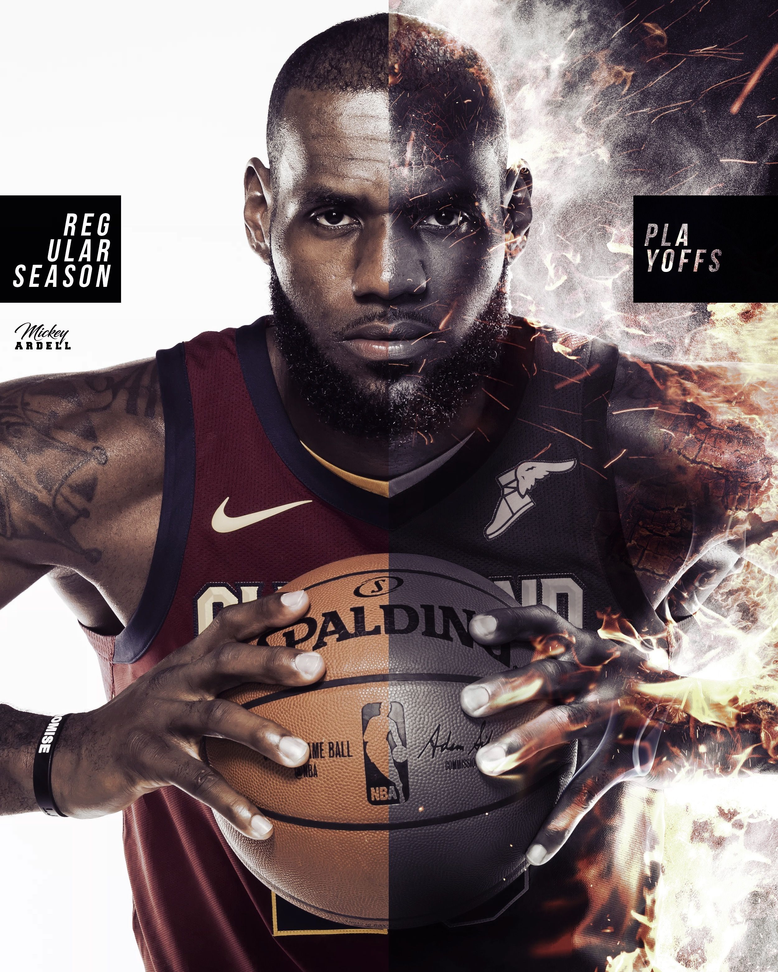 Lebron Regular vs Post Season. NBA Art. wmcskills King