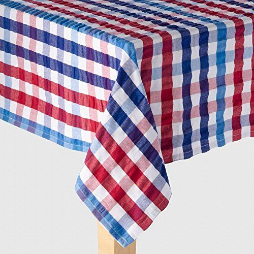 Patriotic Table Decor Tablecloth Fabric Gingham Tablecloth