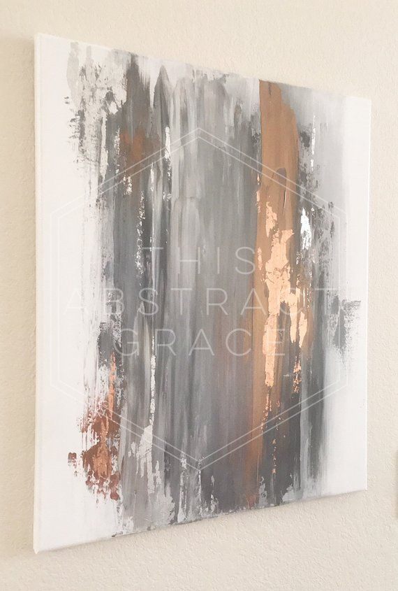 4dd0e32cfd5 SOLD! Abstract Acrylic Art   Rose Gold and Silver Leaf Art   Gray ...