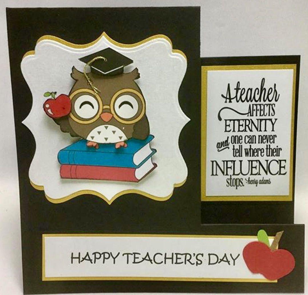 digi stamp owl teacher's day side step card  teachers day