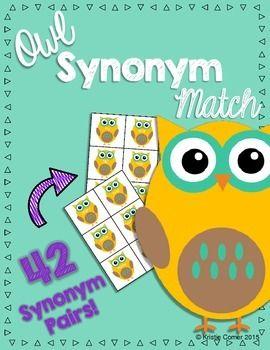 Owl Synonym Match Activity   Lemons and Literacy   Matching