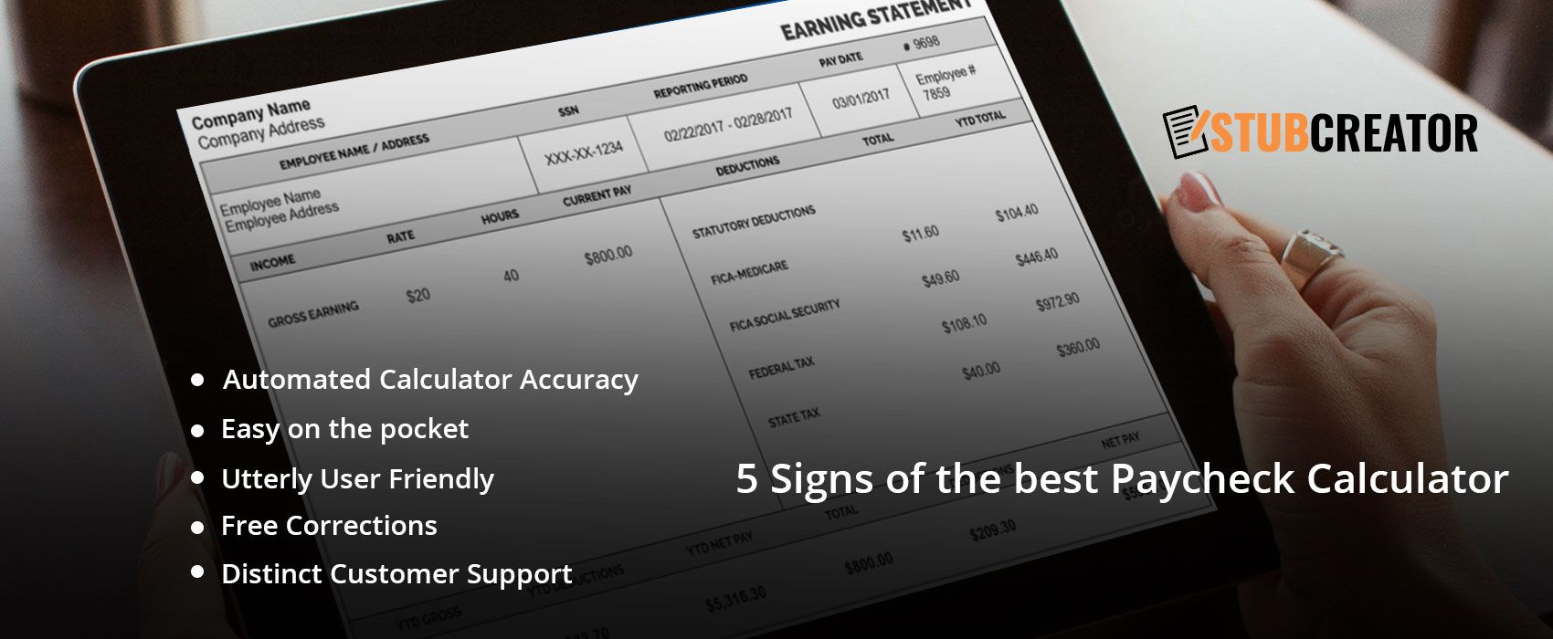 5 signs of the best paycheck calculator stub creator