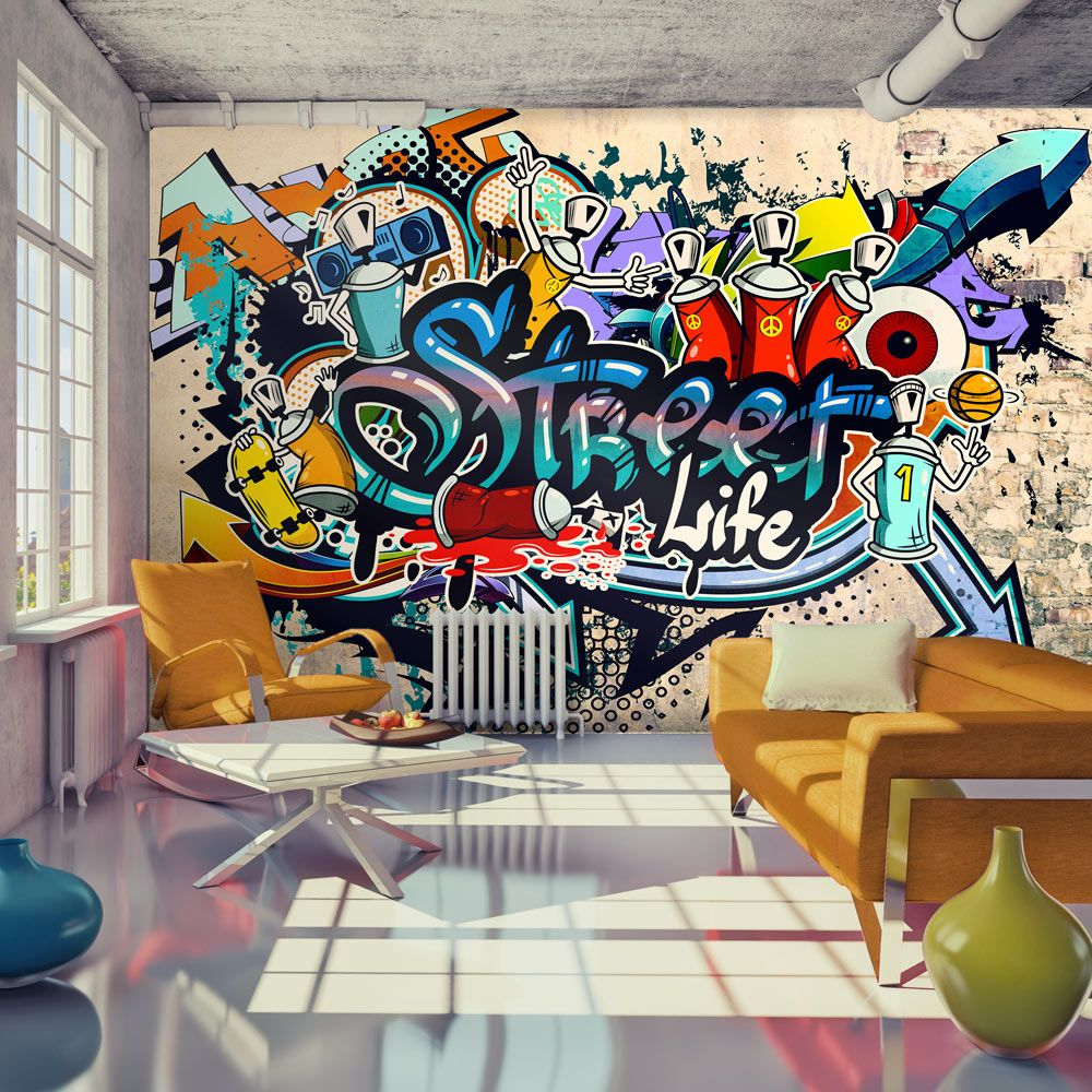 tapeta streetart streetart hiphop drekoracja graffiti. Black Bedroom Furniture Sets. Home Design Ideas