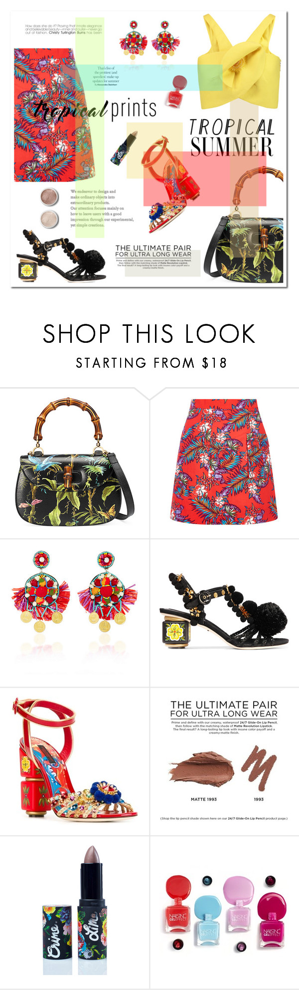 """""""TROPICAL PRINTS"""" by ironono ❤ liked on Polyvore featuring Gucci, House of Holland, Ranjana Khan, Dolce&Gabbana, Urban Decay, Lime Crime, Terre Mère, Delpozo, tropicalprints and polyvoreOOTD"""