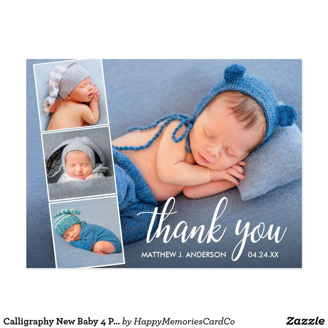 calligraphy new baby 4 photo collage thank you postcard