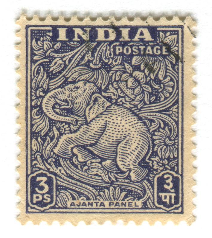 India Postage Stamp Ajanta Caves Elephant Cap Ilustrasi Karakter Seni Jepang