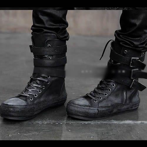 66721ec17 Men Black Leather Lace Up Cyber Punk Biker Combat Boots SKU-1280299 ...