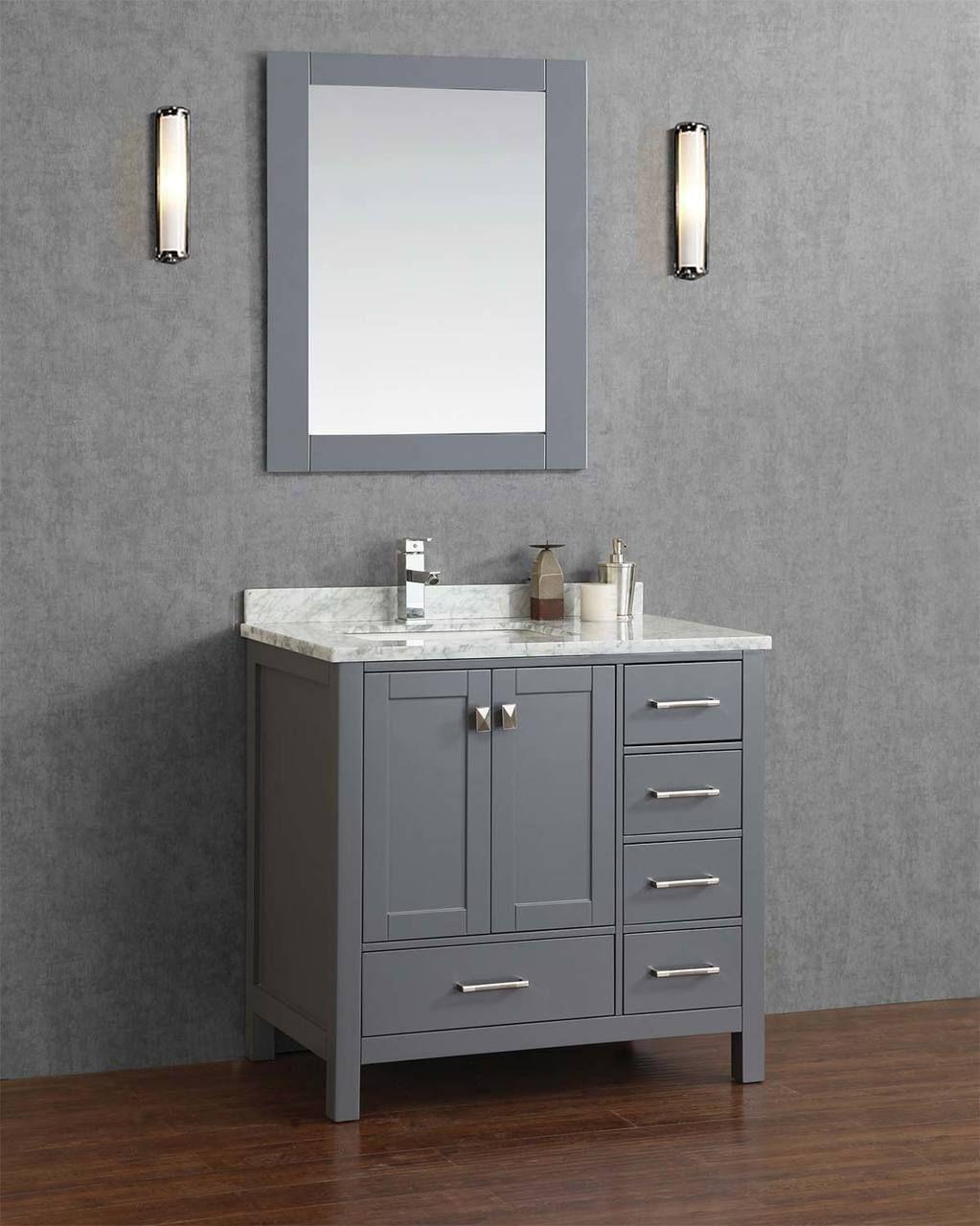 gray bathroom vanity left offset