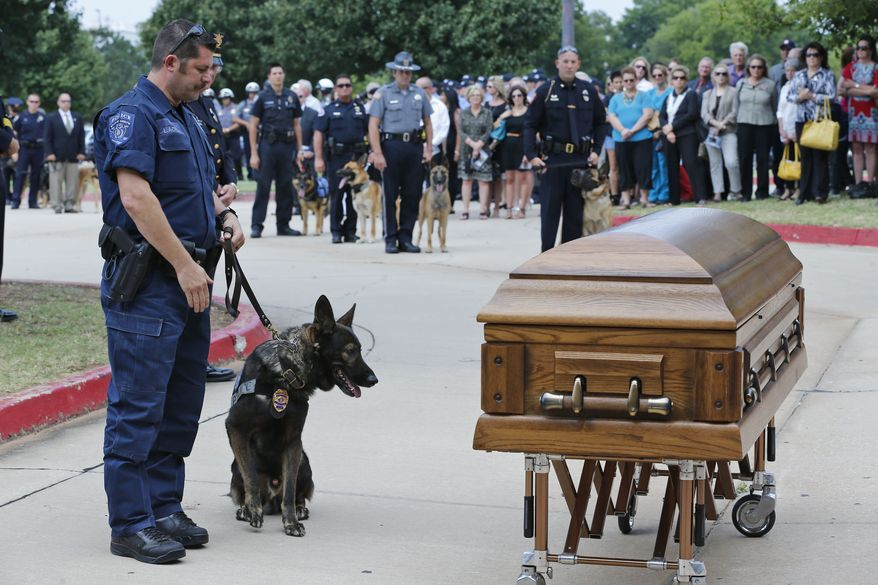 Canine officers and their handlers from around the state stopped at the casket of K-9 Kye following funeral services for the dog in Oklahoma City, Thursday, Aug. 28, 2014. K-9 Kye died Aug. 25 after being stabbed by a burglary suspect on Aug. 24. (AP Photo/Sue Ogrocki)