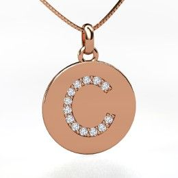 """Gem Letter Initial """"C"""" Pendant, Rose Gold Initial Necklace with Diamond from Gemvara"""