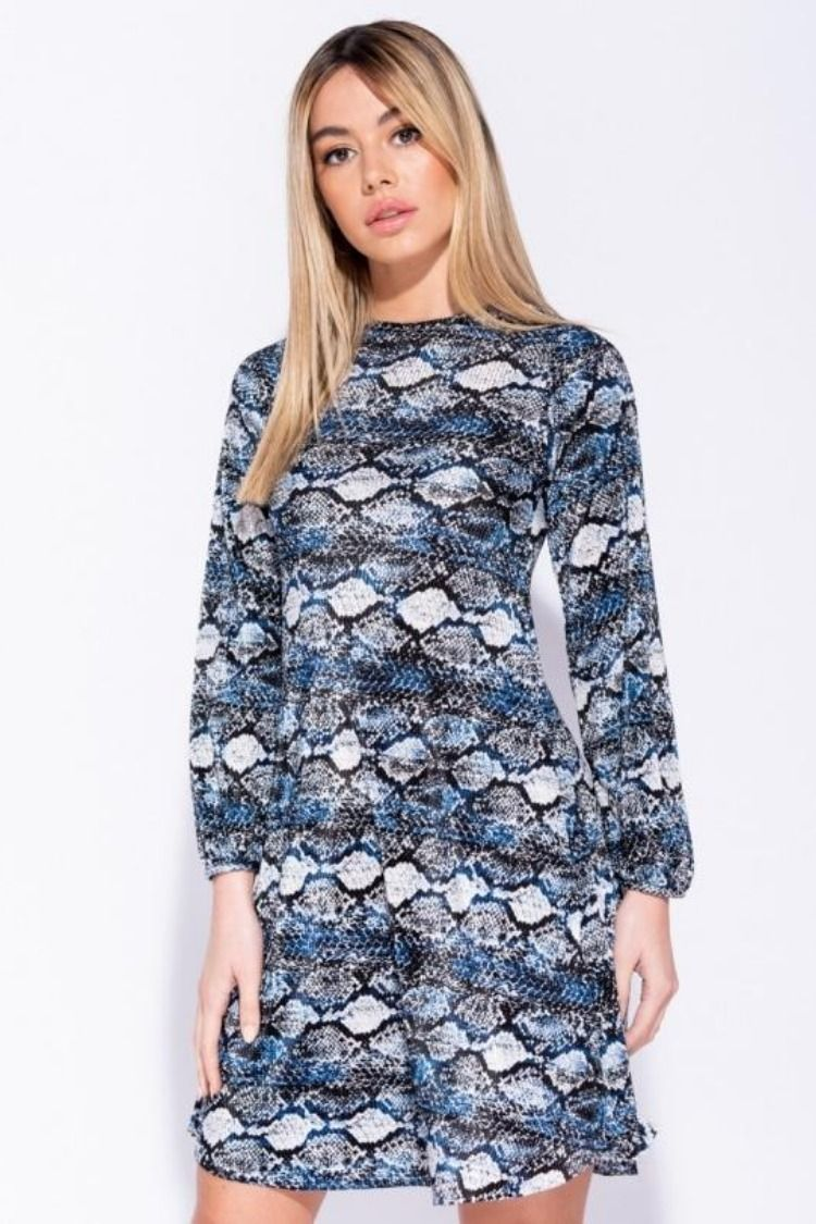 e23b3a69a030 Snake Print Puff Sleeve Shift Dress thewas.co.uk   Dresses   Dresses ...