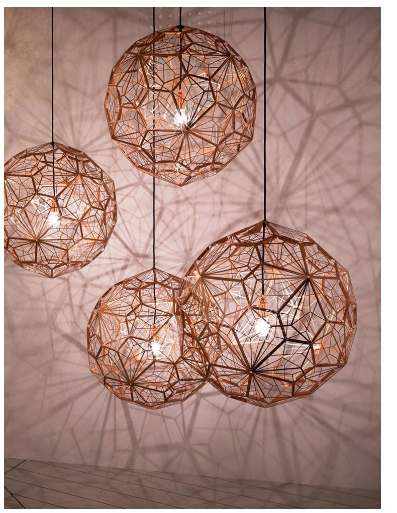 40cm Modern Copper Etch Pendant Lights Stainless Steel Shade Lamp Fixtures Industrial Linghting Copper Chandelier Modern Pendant Light Ceiling Lights