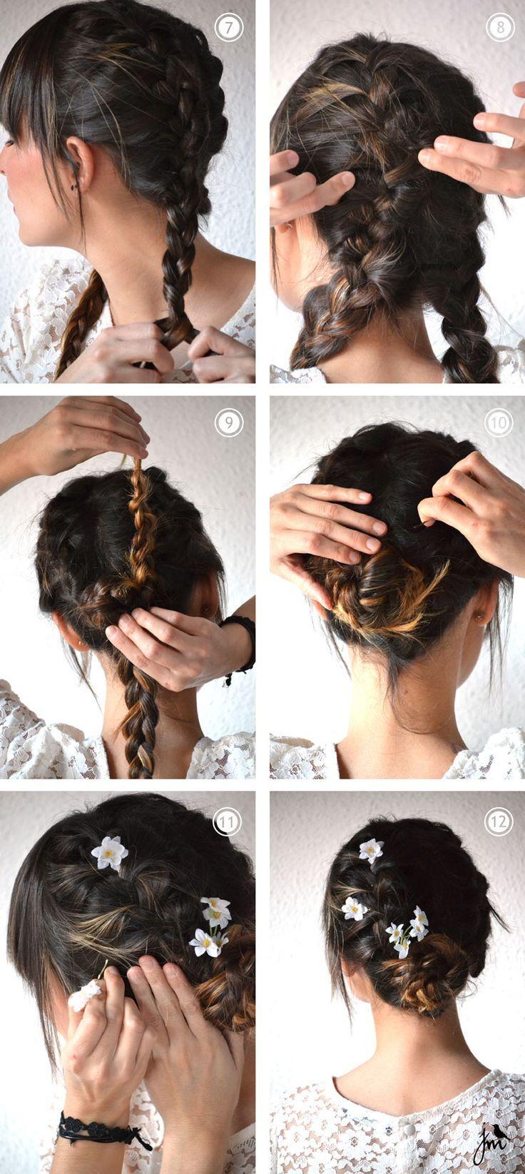Couronne fleurs cheveux Cheveux, Coiffure et Coiffure