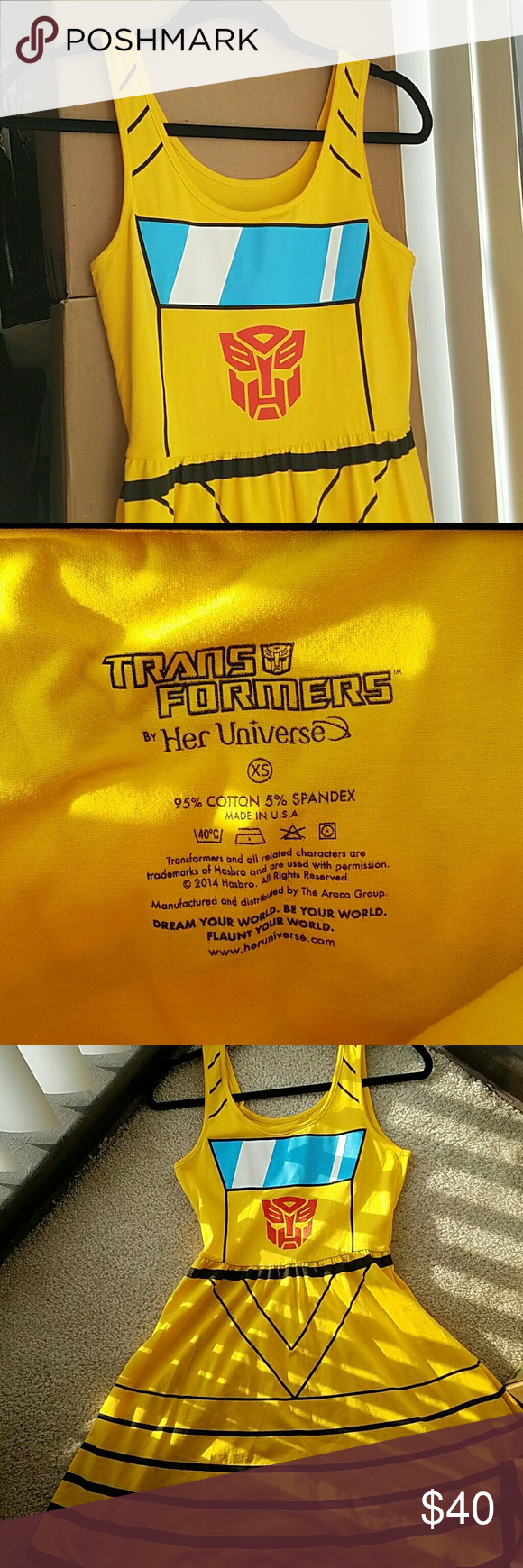 Transformers yellow Bumblebee dress Circle skirt dress
