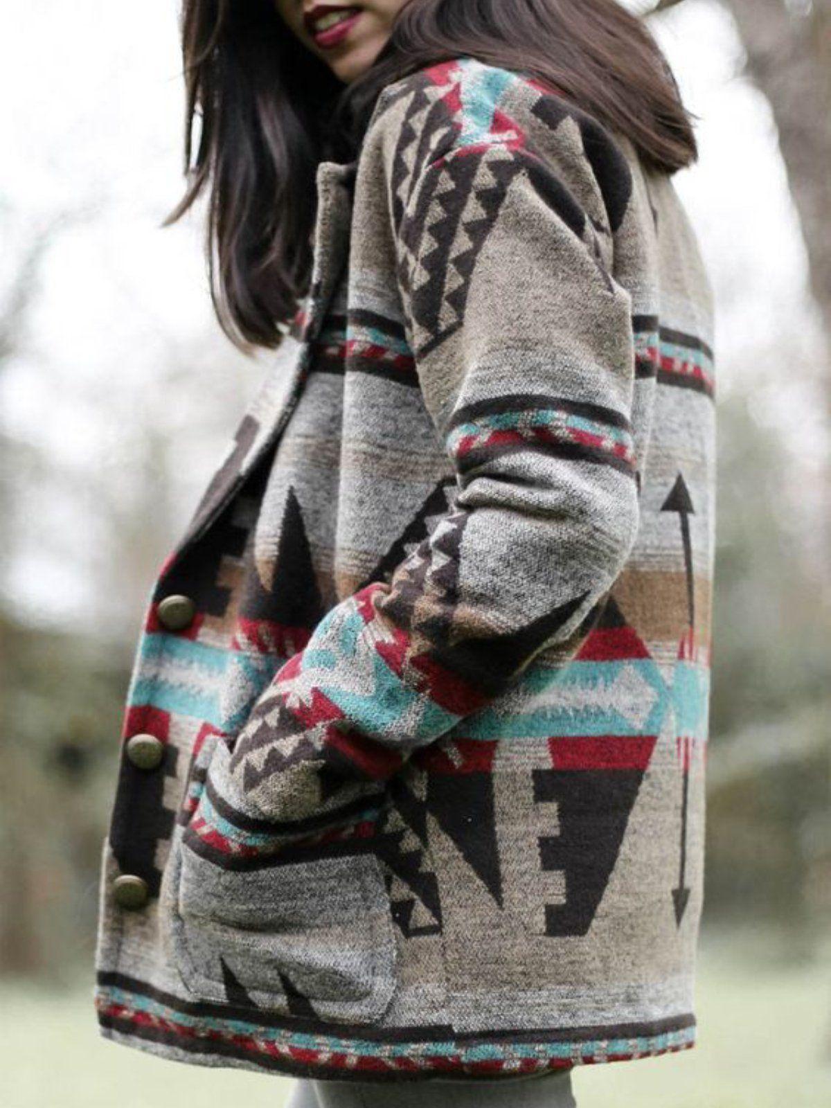 Buffarea Clothing Women Winter Coats Plus Size Native American Inspired Print Coat Tribal Shift Boho Casual Western Outerwear Long Sleeve Outerwear Long Sleeve Turtleneck Fashion [ 1600 x 1200 Pixel ]