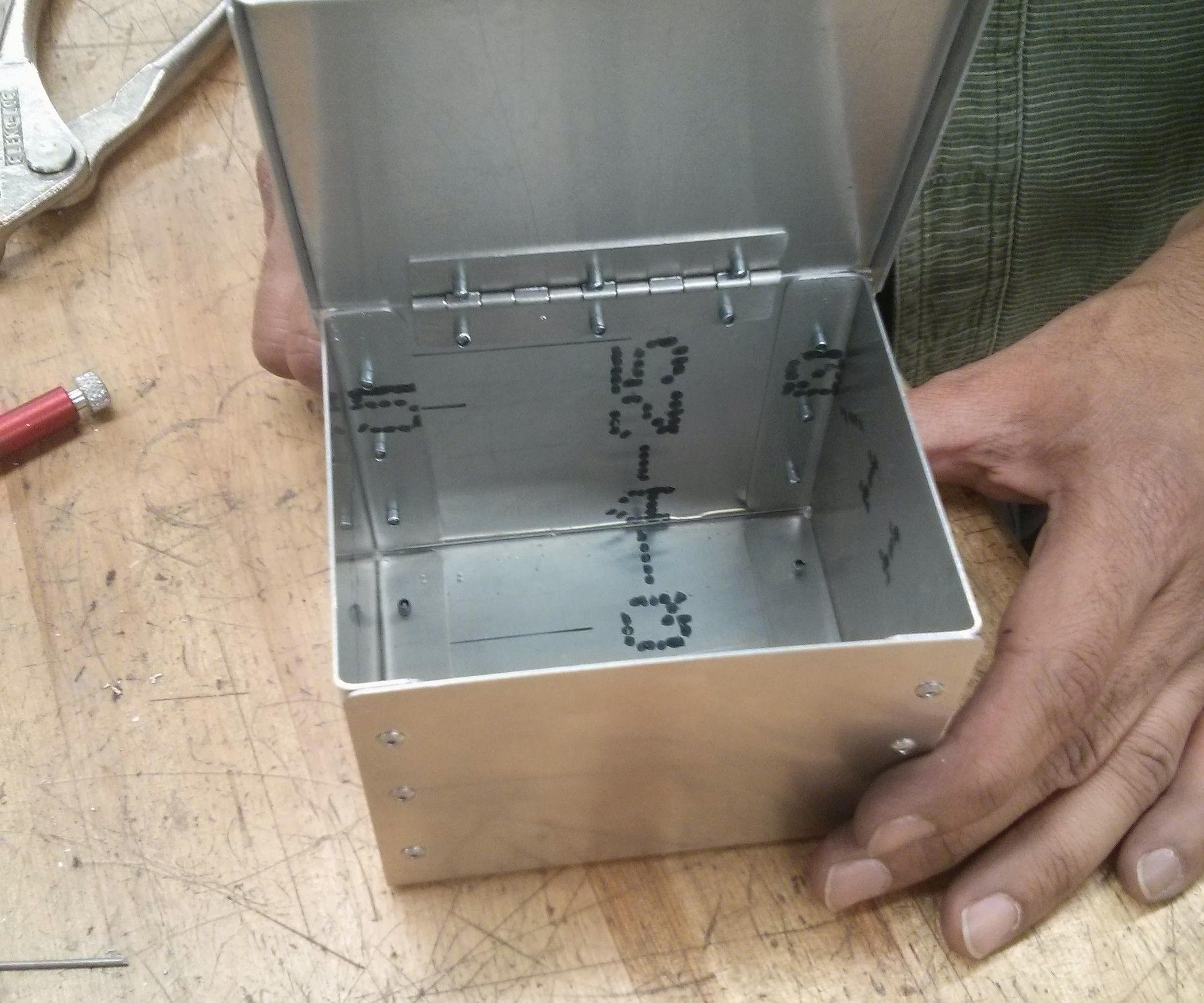 A Riveted Metal Box With Lid Sheet Metal Fabrication Metal Tool Box Metal Projects