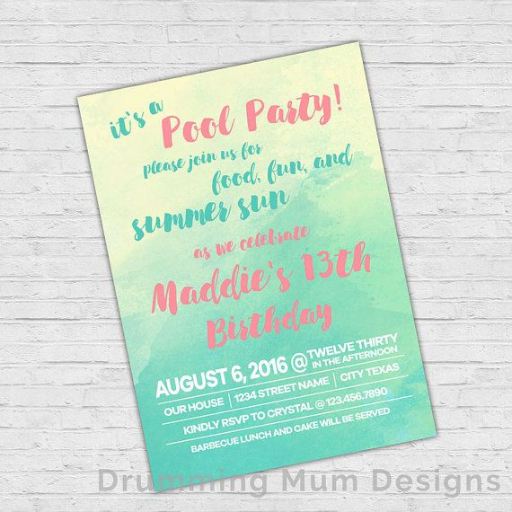 Watercolor Pool Party Teen Girl Birthday Invitation Summer Swim