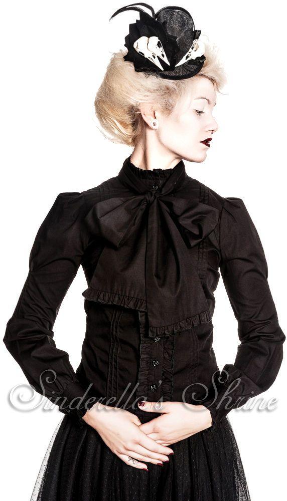 SPIN DOCTOR Black Victorian ~ViRGiNia~ Steampunk Bow Shirt 6-16 XS-XL