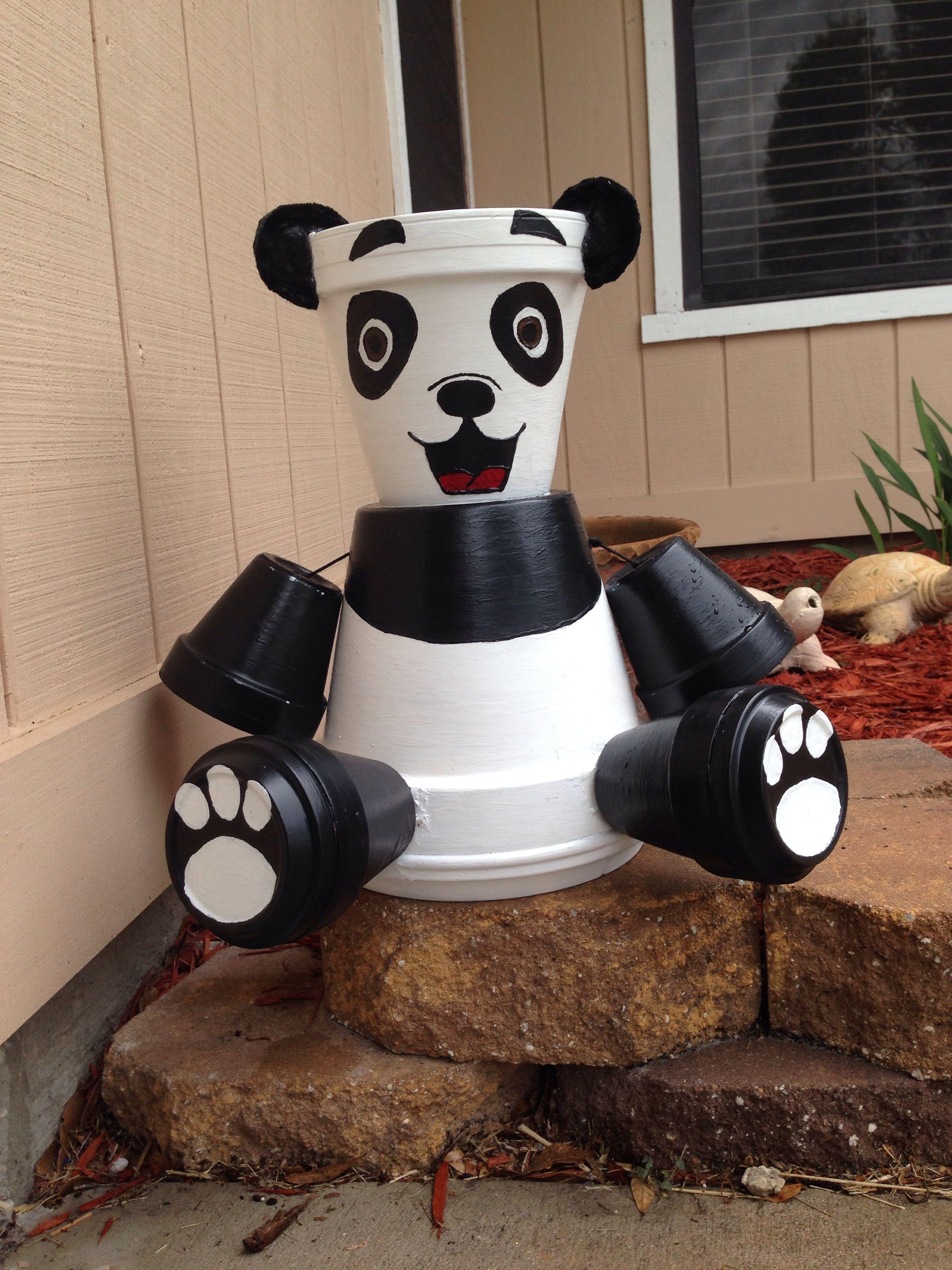 terra cotta pot crafts panda bear terra cotta pots. Black Bedroom Furniture Sets. Home Design Ideas