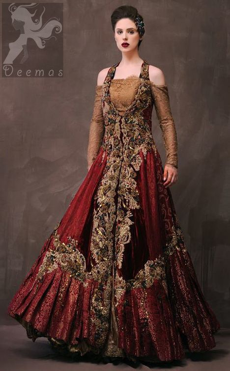 844cb20d25 Latest Designer Wear Deep Red and Golden Double Layer Front Open Long Bridal  Dress
