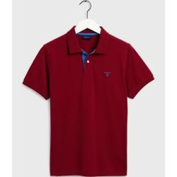 Photo of Gant piqué polo shirt with contrast collar (red) GantGant