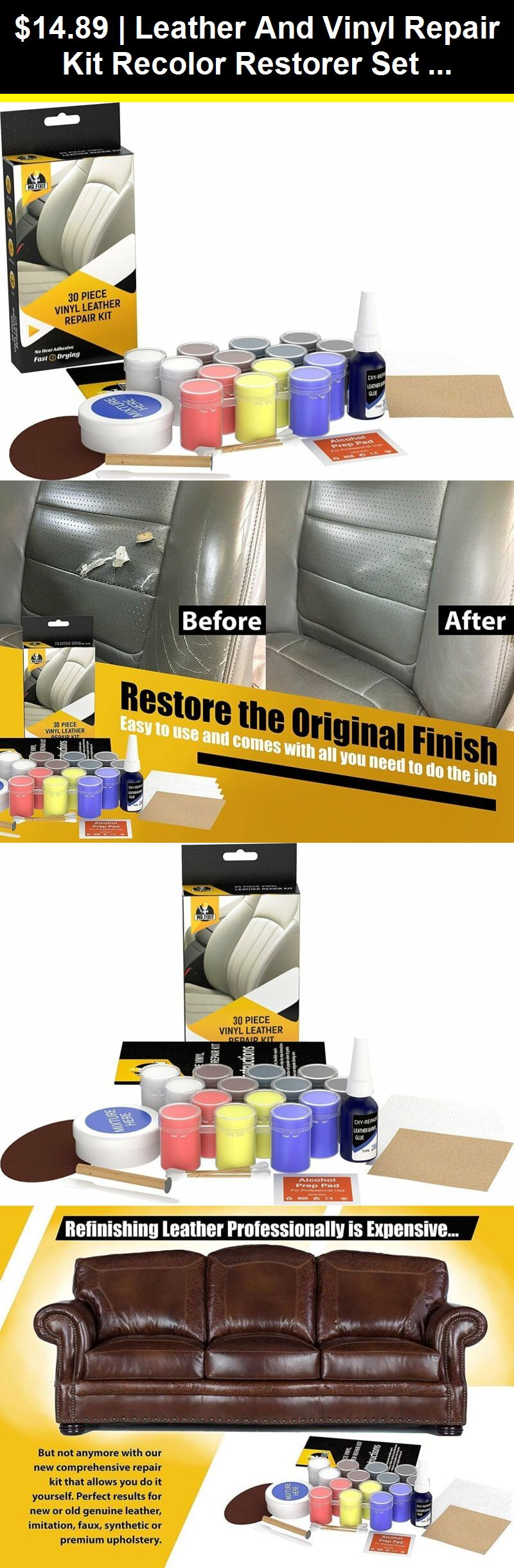 Other Leather Treatments 183147 Leather And Vinyl Repair Kit Recolor Restorer Set For Couch Car Seat Vinyl Repair Leather Repair Leather Restoration