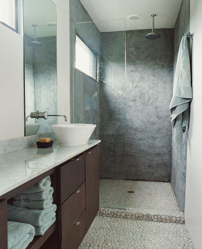 Concreto y piedra para el baño.